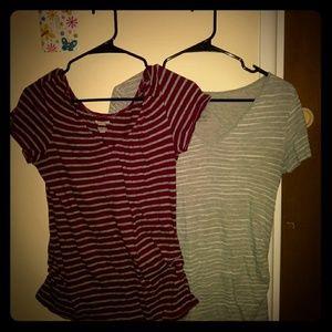 2 V neck maternity shirts